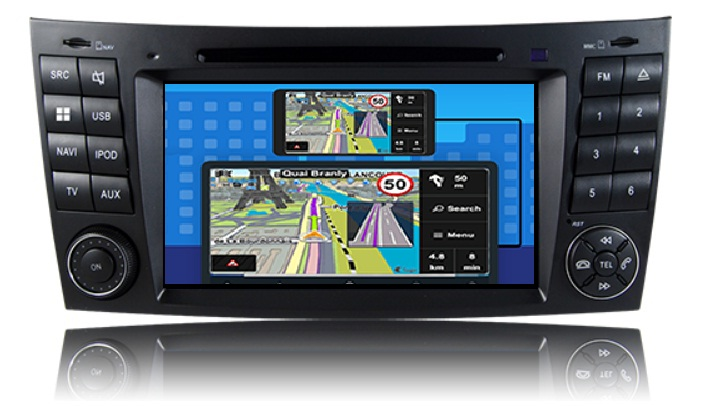 Mercedes E Klasse W211 2002-2009 navigatie dvd Parrot android auto apple carplay DAB+