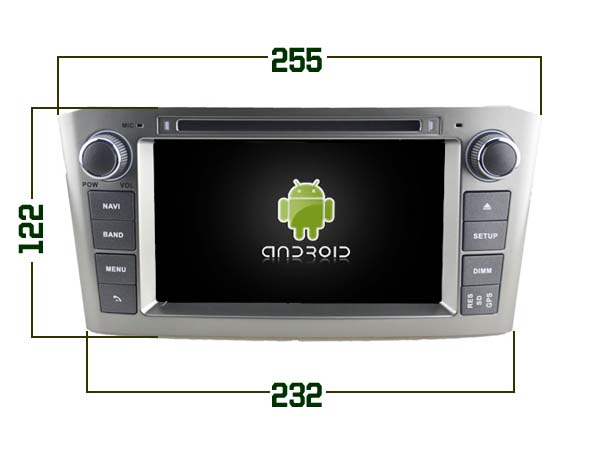 Toyota avensis navigatie 2005-2008 dvd carkit android 9 dvd usb dab+ 64GB