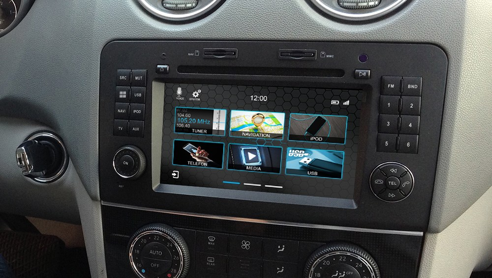 Mercedes ML vanaf 2005 navigatie dvd Parrot carkit carplay android auto