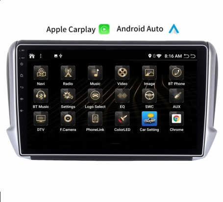Peugeot 208/2008 navigatie carkit full touch usb android auto carplay android 10